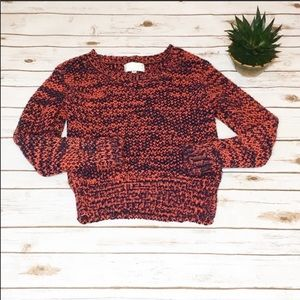 J.O.A. Chunky Rust/Navy Cotton Sweater-S